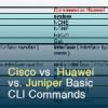 Tips: Cisco vs. Huawei vs. Juniper Basic CLI Commands
