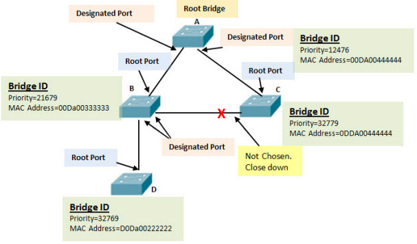How the Root Bridge and Ports are chosen
