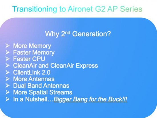 Transitioning to aironet G2 AP series