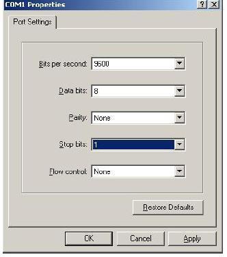 Terminal Emulation Software Settings for hyper teminal