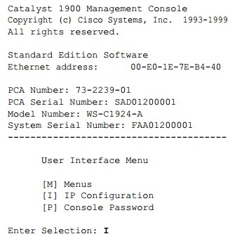 IP Configuration-Cisco 1900 switch