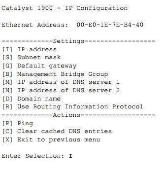 IP address-Cisco 1900 Series switches