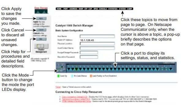 The Catalyst 1900 Switch Manager home page is displayed