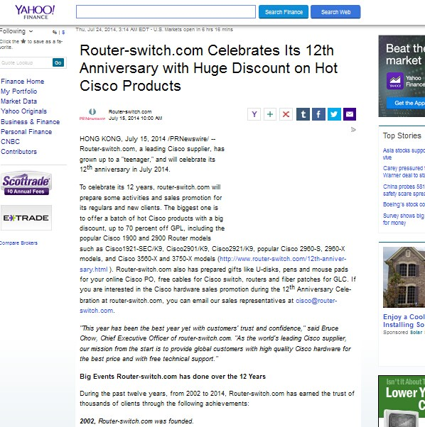 Yahoo Finance Reported Router-switch.com's 12th Anniversary Celebration