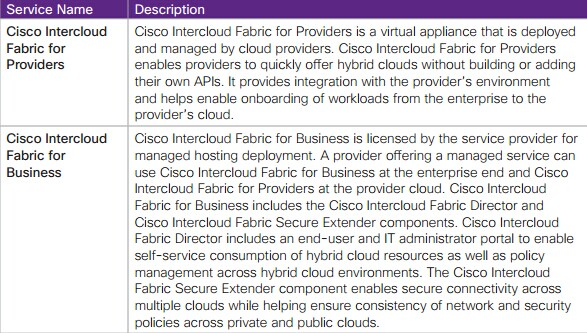 The Main Services of Cisco Intercloud Fabric for Providers