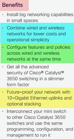 Cisco Catalyst 3650mini-Benefits