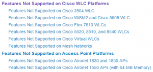 Features Not Supported on Cisco...