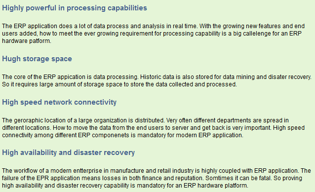 Requirement of an ERP hardware platform