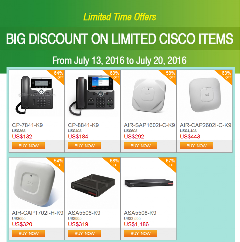 Limited Time Offers-Big Discounts on Limited Cisco Items-Weekly Deals