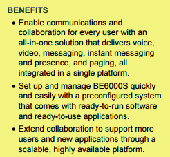 BENEFITS-Cisco Business Edition 6000S