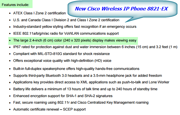 New Cisco Wireless IP Phone 8821-EX-Features