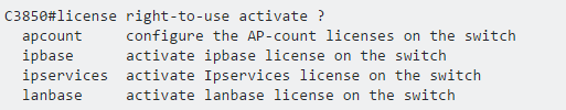 C3850#license right-to-use activate