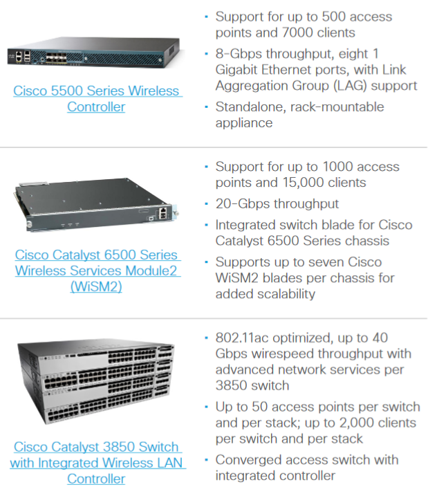 Cisco Wireless Controllers for Mid-Sized and Large, Single-Site Enterprises