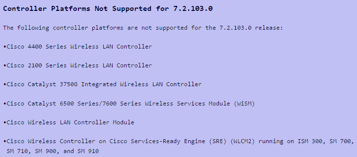 Controller Platforms Not Supported for 7.2.103.0