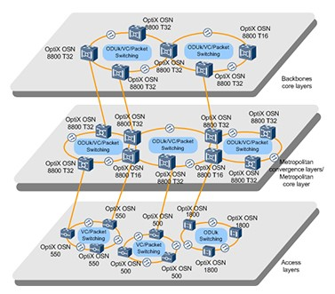 Typical MS-OTN networking of OptiX OSN 8800