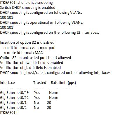 Displaying the DHCP snooping