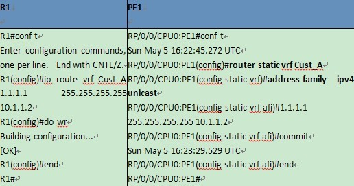 specify Static route for VRF instance
