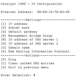 IP address-Cisco 1900 Series switches