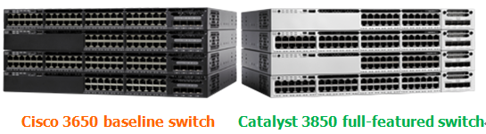 Cisco 3650 baseline switch and Catalyst 3850 full-featured switch