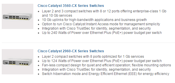Main Features of Catalyst 3560-CX and 2960-CX Series