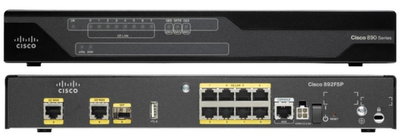 Cisco 892FSP ISR, Front and Back