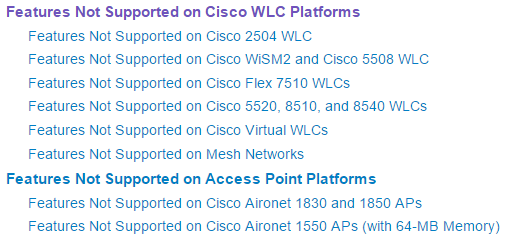 The Latest Updates: Features Not Supported on…Cisco WLCs