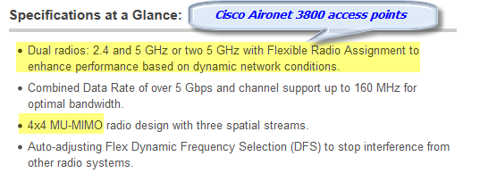 Specifications-Cisco Aironet 3800 Series