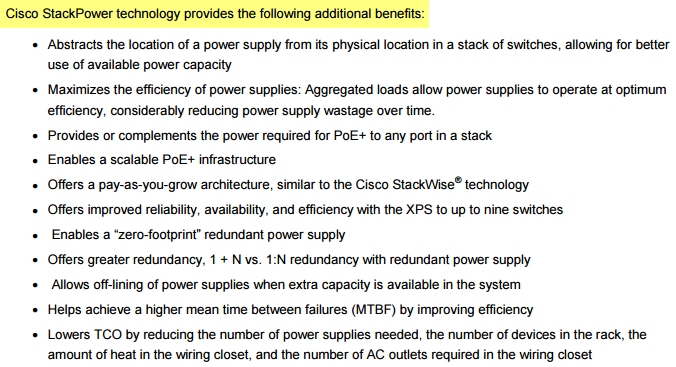 Cisco StackPower technology-following additional benefits