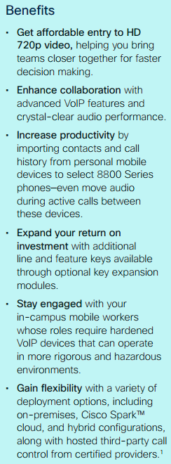 Benefits-Cisco IP Phone 8800 Series