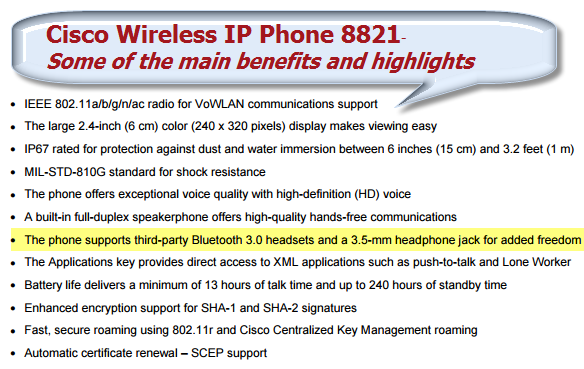 The Cisco Wireless IP Phone 8821-Features