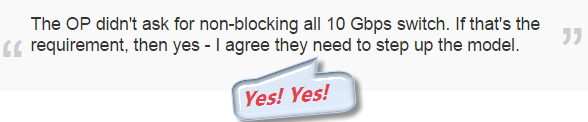 The OP didn't ask for non-blocking all 10 Gbps switch